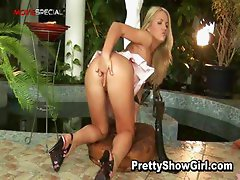 Blond slutty babe working on a huge part1