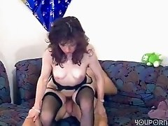 Brunette german pornstar in stockings gets her hairy vag rammed