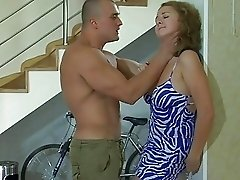 Busty babe in pantyhose gets fucked hard by mucled hunk