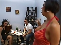 Horny brunette with big tits and gorgeous ass teasing a guy