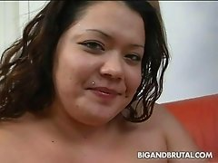 Huge dark haired momma in lace underwear masturbates on sofa