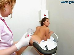 Natural breasts girl gyno exam