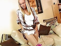 Nasty blonde teen in robe strips and teases in pantyhose