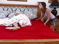 Brunette teen lesbian licks her blonde friends ass while she sleeps