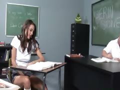 teacher plays with her sweet chick
