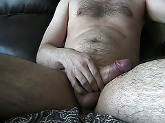 uncut stroking, ball tugging, cum dribble