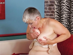 Hairy grandmother slut loves to play alone