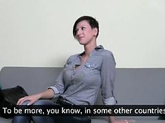 Horny brunett girl fucking on the chair