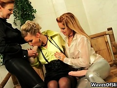 Sexy blonde babes get horny jerking
