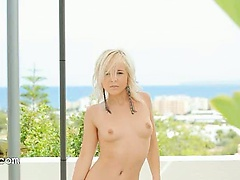 sweet blondie making outdoor strip
