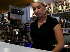 Hot bartender Lenka drilled for money