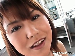 Sweet japanese girl gets hot boobies teased in close-up