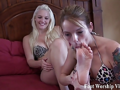 Licking the bottom of Macy's perfect feet