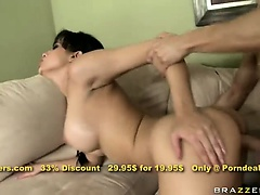 Adorable brunette hottie Abella Anderson fucks while waiting