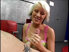 Angel uses two hands on the cock