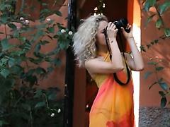 Beautiful blond Madonna photographer