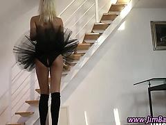 Stockinged brit teen amateur blonde