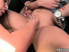 Busty hot lesbians go crazy licking