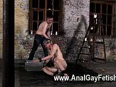 Gay fuck His cock is encaged and unable to spring to full hardness, even
