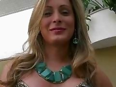 Seductive blonde TS blowjob and analized