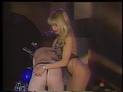 Hot blonde has a biker boy as her slave