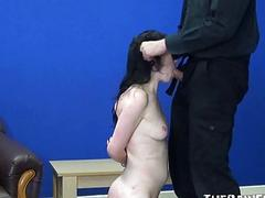 Extreme brutal blowjob and whipping of bdsm slut