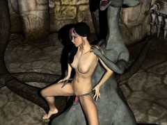 Hot 3D babe gets her pussy pounded by a monsters cock