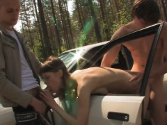 bewitching teen threesome in the car