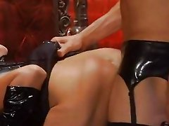 Raunchy Roxanne Hall is fucked stupid by a stocking clad fetish fucker