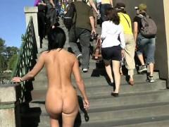 Crazy babe enza has fun on public streets