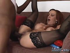 Busty redhead babe rides a rod for cum