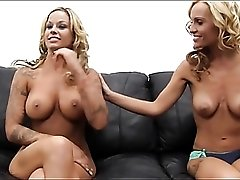 Two big tits blondes in casting couch threesome video