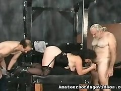 Horny mature lady caned