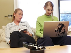 Lesbian girls fuck on the office flooor