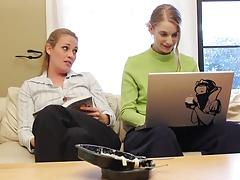 Lesbian girls fuck on the office flooor