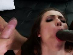 Ass fucked slut sucks in threesome