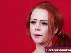 Cumloving English redhead cleansup facial