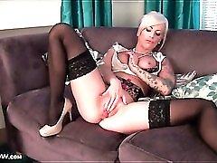 Sexy black stockings on masturbating blonde babe