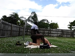 Enticing blonde gets drilled doggystyle by a hung black guy