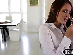 Redheaded lesbian babe gets busy with tutor