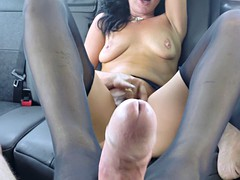 MILF eats ass and gets fucked hard in the taxi