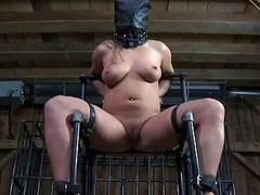 Bondage girl sucks masters dick in the forest BDSM porn