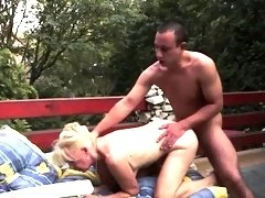 Hairy grandma gets banged in outdoor action