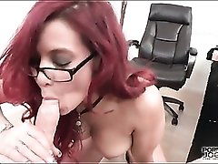 Business babe strips and sucks dick POV