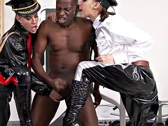 two naughty beauties with hot mouths sucks big black trunk