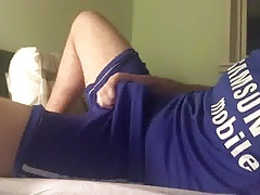 Lad in Footie Kit Wanks and Cums