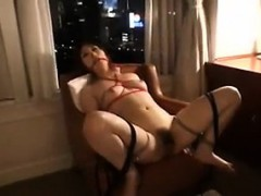 Helpless Japanese girl with lovely tits gets her hairy peac