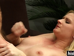 Blonde slut likes to ride his pecker