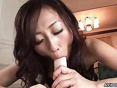 Cock shaped dildo fills her perfect hairy Japanese pussy