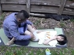 Naughty Asian teens share their love for hard meat outside